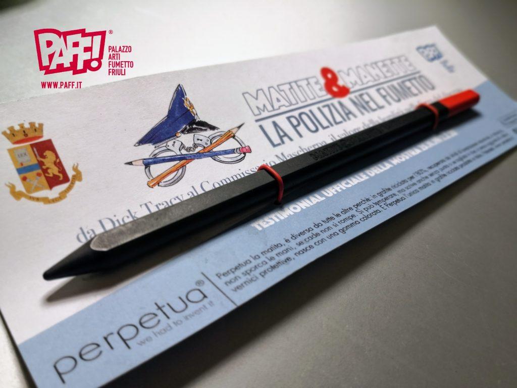 Perpetua la matita sostenibile-compasso d'oro testimonial della mostra sulla legalità al Paff!